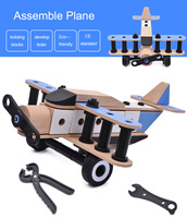 DIY Toy Assembly Construction Jigsaw Puzzle Handmade Educational Woodcraft Set 3D Navy Plane Model Kit Toy