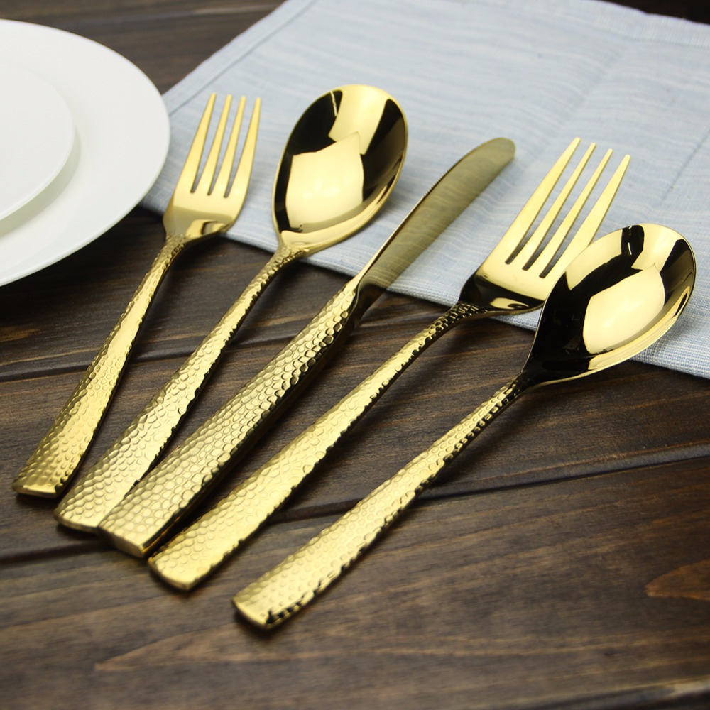 Gold Cutlery Sets Us 27 48 Luxury Gold Cutlery Set 5 Piece High Polishing Stainless Steel Dinnerware Set For Home Hotel Dishwasher Safe In Dinnerware Sets From Home