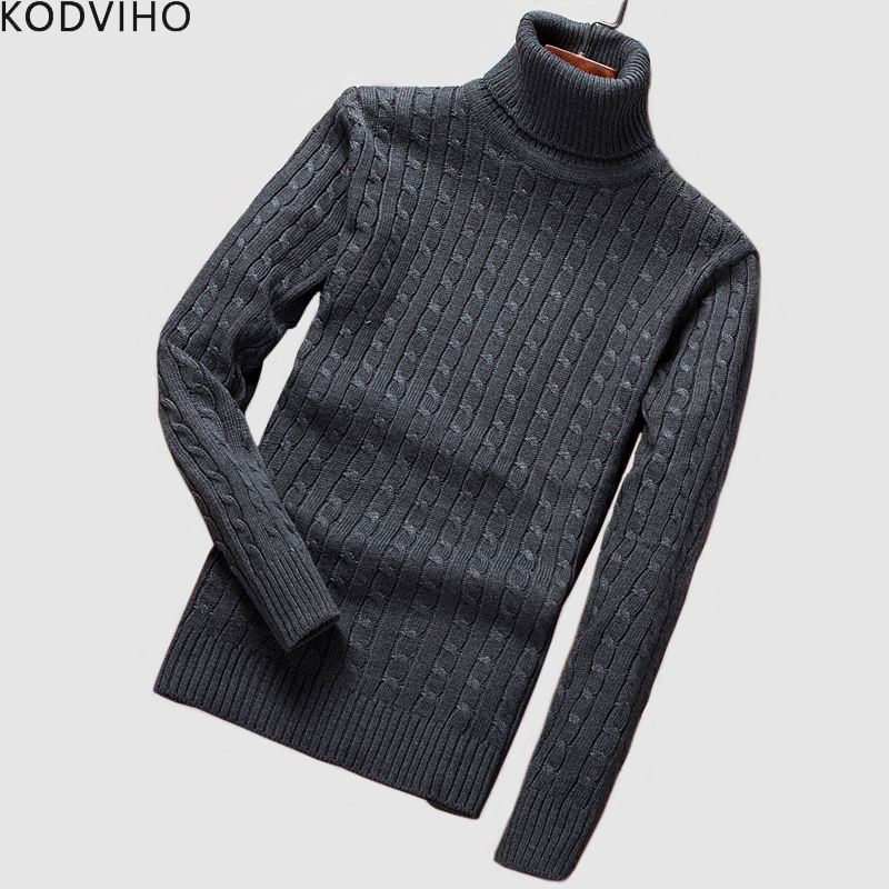 Sweater Men Sueter Turtleneck Knitted Wool Slim Winter Warm 5XL Black Silk Cotton Brand