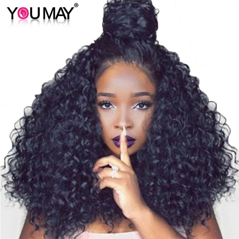 250% Densité Brésiliens Bouclés de Cheveux Humains Perruques Pleine Se Termine Avant de Lacet Perruques Pour Les Femmes Naturel Noir Pré Pincées Vous Pouvez remy Cheveux