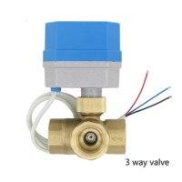 AC220V /24V DC12V/24V 2 way 3way brass valve Motorized ball valve Electric ball valve electric actuator DN15 DN20 DN25 DN32 DN40