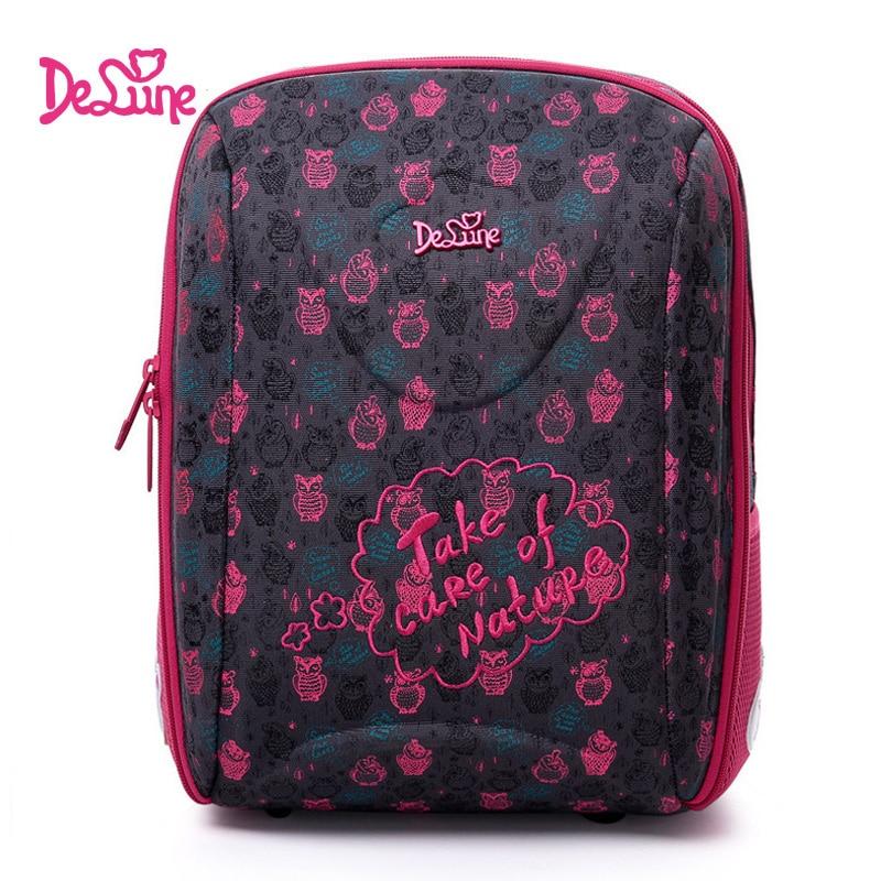 Delune Pink Owl Pattern School Bags For Girls Boy Cartoon Large Backpack Children Orthopedic Backpacks Primaty Mochila Infantil