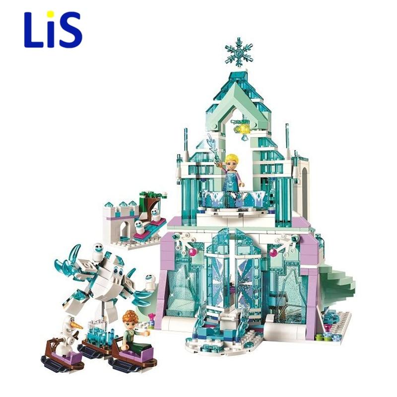 Lis 10664 709pcs Friends Elsa Magical Ice Palace Castle Anna Olaf Girl Building Block Compatible 41148 Brick Toy
