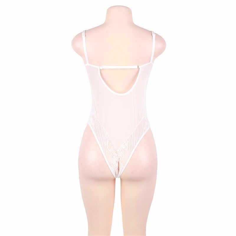 3e5ef58bc7 ... Lace Romper Sexy Backless Transparent White Lace Bodysuit New Arrival  Body Dentelle Femme M-5XL