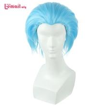 """L דוא""""ל פאה חדש את שבעה החטאים איסור קוספליי פאות 30 cm כחול גברים חום עמיד קצר סינטטי שיער Perucas פאת קוספליי"""