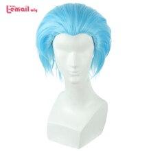 L e mail peruca novo os sete pecados mortais proibição cosplay perucas 30cm azul homem resistente ao calor curto peruca de cabelo sintético perucas cosplay
