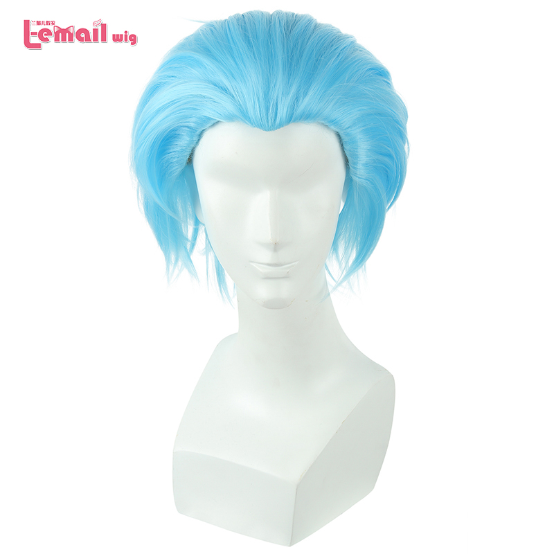 L-email Wig New The Seven Deadly Sins Ban Cosplay Wigs 30cm Blue Men Heat Resistant Short Synthetic Hair Perucas Cosplay Wig