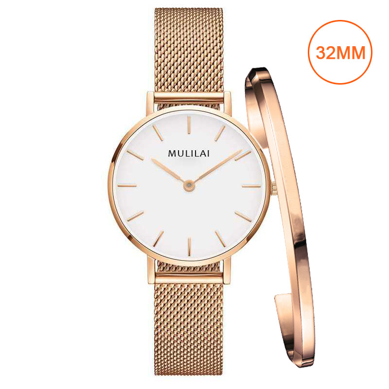 32mm Luxury Brand Ladies Steel Bracelet Quartz Watch fashion Simple Rose gold women dw watch style + Bracelet Ladies Dress Watch(China)