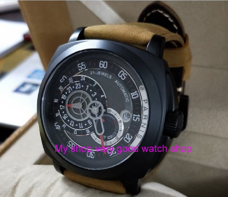 43mm PARNIS Japanese Automatic Self-Wind movement  mens watch Auto Date  24-hour display PVD CASE Mechanical watch 417a43mm PARNIS Japanese Automatic Self-Wind movement  mens watch Auto Date  24-hour display PVD CASE Mechanical watch 417a