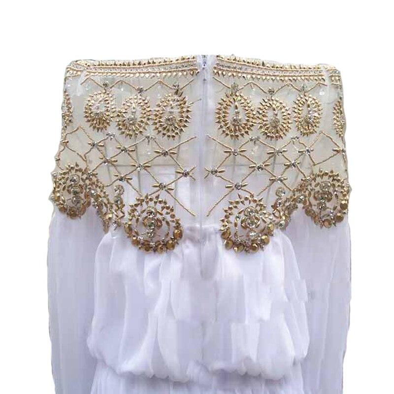 La Fashion Main Gamme Robe Piste Youe Longueur 2018 À Haut Maxi Brillait Luxueux Designer Europe Perles De Étage Blanc FA546Op