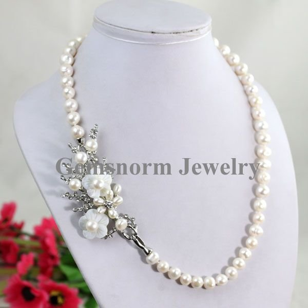 Charming 7 8mm Freshwater Pearl Necklace Elegant Design Fashion Jewelry Hot 3 Colors