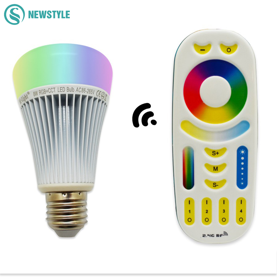 8W 2.4G MiLight  LED Bulb Wireless E27 RGBWW+ Color Temperature Dimmable 2 in 1 Smart lamp 2.4G RF Remote Controller AC85-265V caso e9 silver яйцеварка