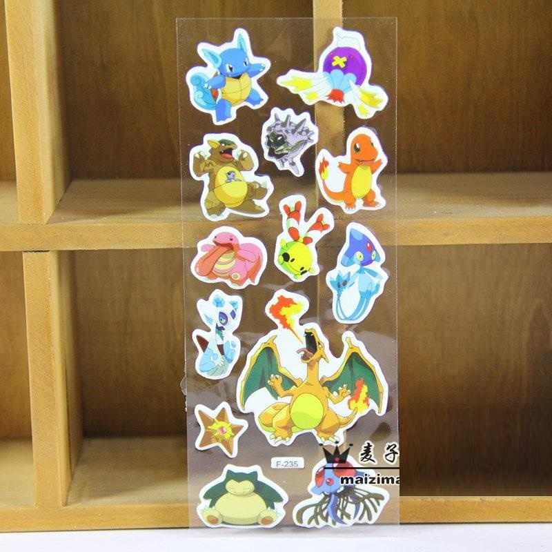 3 ورقة/مجموعة بيكاتشو ملصقات PVC 3D ملصقات اللعب ديكور للأطفال يوميات دفتر التسمية لعبة