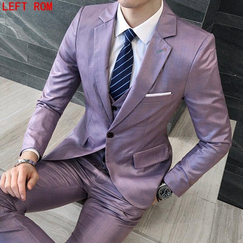 2017 hombres de negocios de traje slim fit masculino clásico Trajes Blazers traje de lujo hombres dos Botones 3 unidades (chaqueta + pantalones + chaleco)