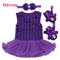 Purple Floral Baby Dress Elegant Infant Princess Clothes Cotton Sleeveless Baby Girl Romper with Ruffle Lace Newborn Outfits