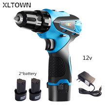 Xltown 12v cordless two-speed drill electric screwdriver supporting lithium battery charger household power tools Free drill bit