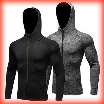 2018 Havalı Kapşonlu Sıkıştırma spor ceket Erkek Gömlek Fermuar Spor Giyim Döküntü Bekçi Spor Spor Siyah koşu tişörtü