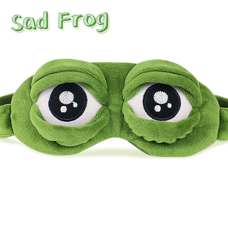Funny Creative Pepe Sad Frog 3D Eye Mask Plush Toy Cover Cartoon Plush Sleeping Mask Cosplay Toy Cute Anime Gift image