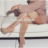 ALMUDENA Hot Selling Beige Suede Thigh High Boots Pointy Toe Slim Fit Dress High Heel Shoes Lace up Chic Long Boots Customized