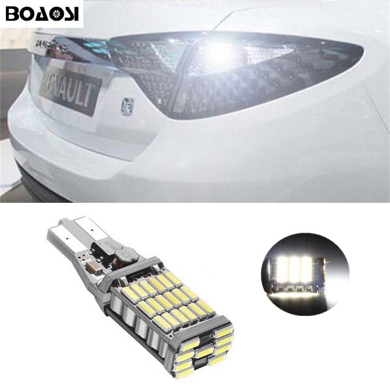 BOAOSI 1x Canbus Error Free T15 Car LED Lights Backup Reverse Lights for Renault Fluence Koleos Laguna III Laguna III Tourer error free t20 socket 360 degrees projector lens led backup reverse light r5 chips replacement bulb for subaru outback