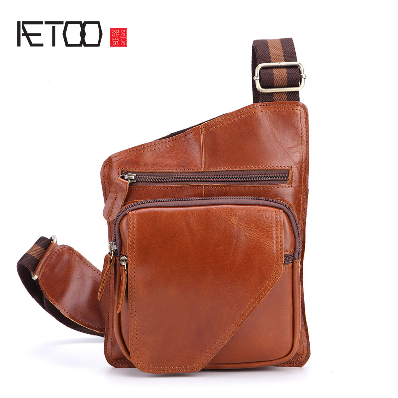 AETOO Leather chest bag men Messenger bag head layer crazy horse leather men package tide package