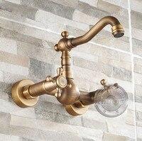 Bathroom Faucet Bathtub Mixer Tap Antique Brass Double Clawfoot Handle Bahttub Faucet Wall Mounted Bathtub Tap