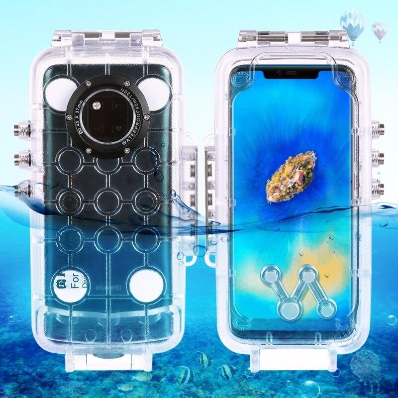 PULUZ voor Huawei Mate 20 Pro duiken waterproof case PC + ABS beschermhoes 40 meter waterdicht (kleur: transparant kleurloos)