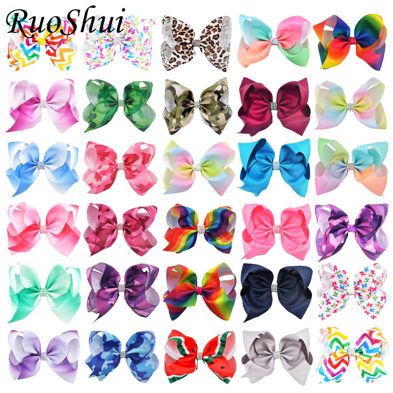 8 Inch Women Rhinestone Print Rainbow Hair Bow Clips Big Ribbon Bows Girls Hair Accessories Hairpins Children   Headwear