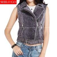 Plus size new fashion women high quality Lambswool fur lapel water ripple metal rivet locomotive Fur one short section fur vest