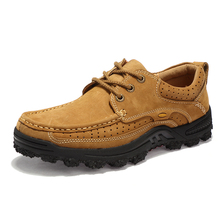 Outdoor Hiking Mountain Casual Shoes Waterproof Men Genuine Leather Men's Tooling Work Shoes Daily Business Boots