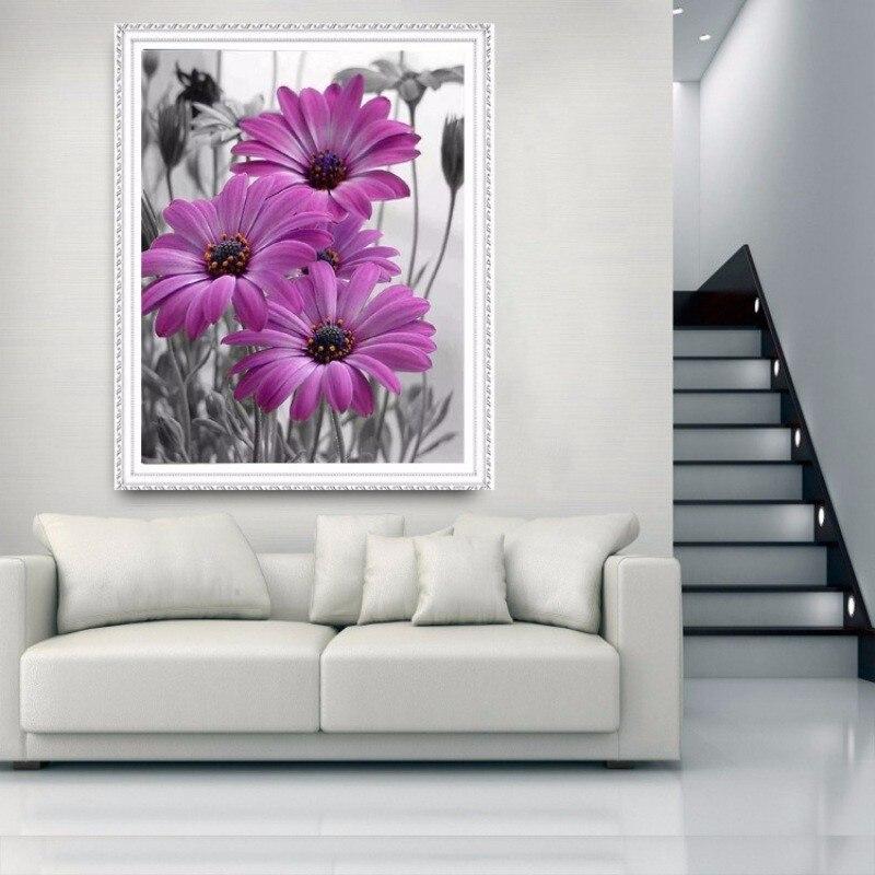 3D DIY алмазов картина вышивки крестом Алмазная вышивка цветы сирени  ромашки Наборы мозаика живопись Home украшения 56dc1e0e954