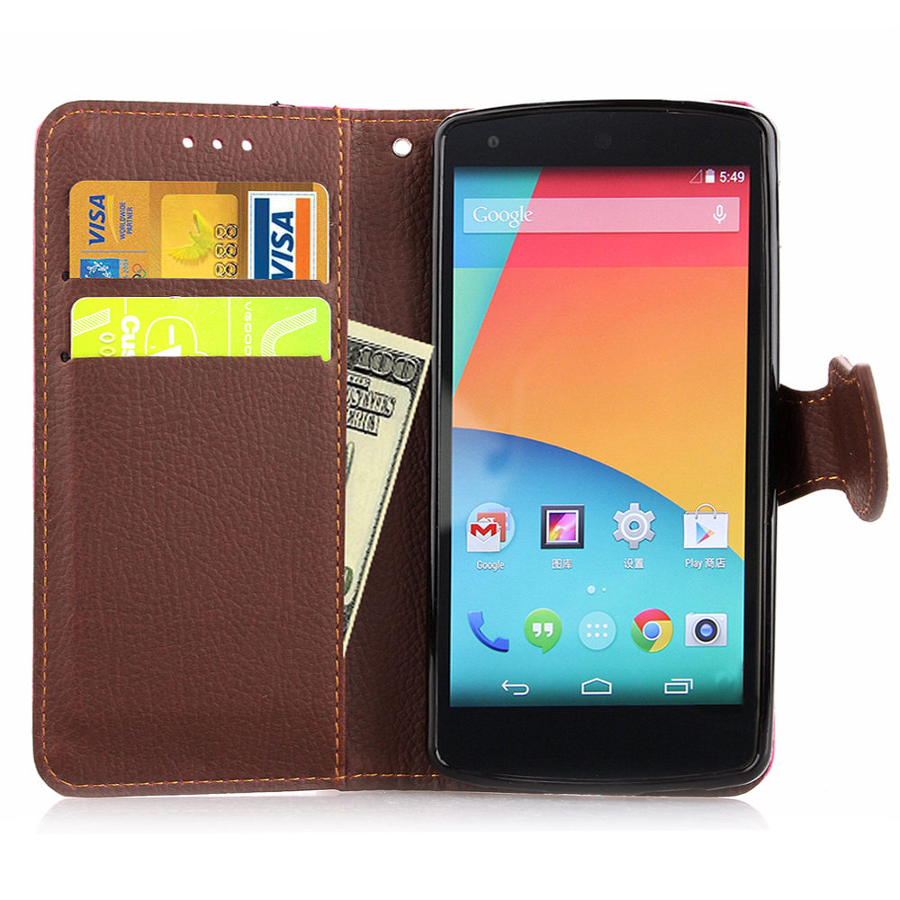 for Google Nexus 5 LG Nexus5 Case Leaf Clasp Flip Leather ...