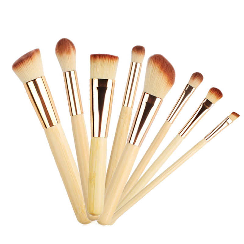 8Pcs Bamboo Handle Makeup Brushes Set Powder Foundation Eye Brow Face Lips Beauty Make up Tool Contour cosmetic Brush kits professional makeup brush flat top brush foundation powder beauty cosmetic make up brushes tool wooden kabuki