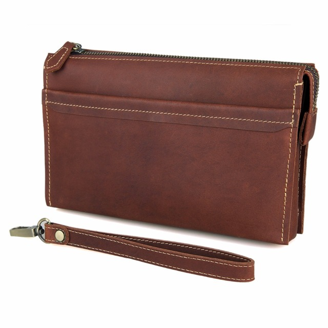 High Quality Genuine Cow Leather Men's Clutch Bag Man Purse Fashion Long Money Purse  8043B