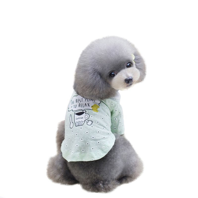 High Quality Summer Pet Dog Shirts Small Flowers Clothes Cute Printed Coffee Cup Vest Printed Puppy Doll collar T Shirts Clothin