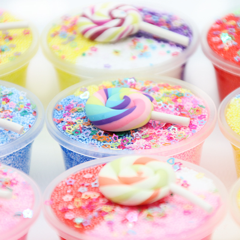Mini Lollipop Candy Slime Supplies Toy 60ML 3 Color Snowflake Mud Slime Cotton Star Ball Mud Relax Arts DIY Craft Toys For Child