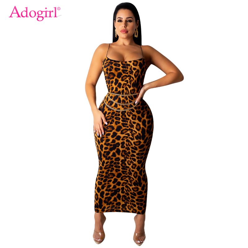 Adogirl Leopard Print Spaghetti Straps Sexy Club Dress Women Fashion Bodycon Maxi Party Dresses Casual Long Vestidos Outfits