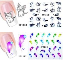 1 Sheet Nail Sticker Manicure Temporary Tattoos Heart Lipstick Cat Panda Sweet Kiss Pattern Water Transfer Beauty Nail Art стоимость