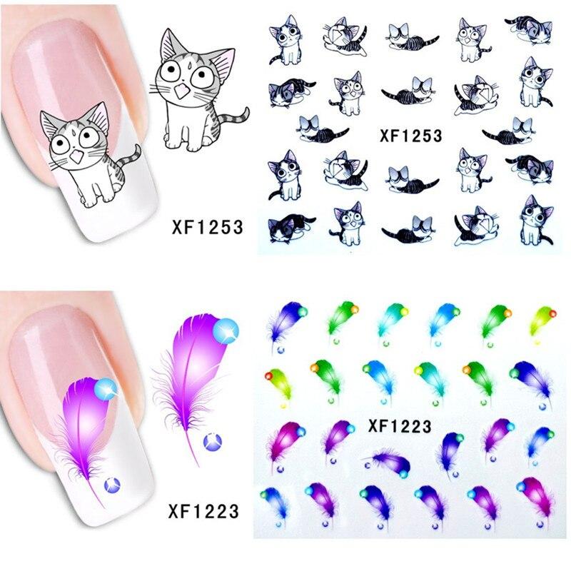 1 Sheet Nail Sticker Manicure Temporary Tattoos Heart Lipstick Cat Panda Sweet Kiss Pattern Water Transfer Beauty Nail Art
