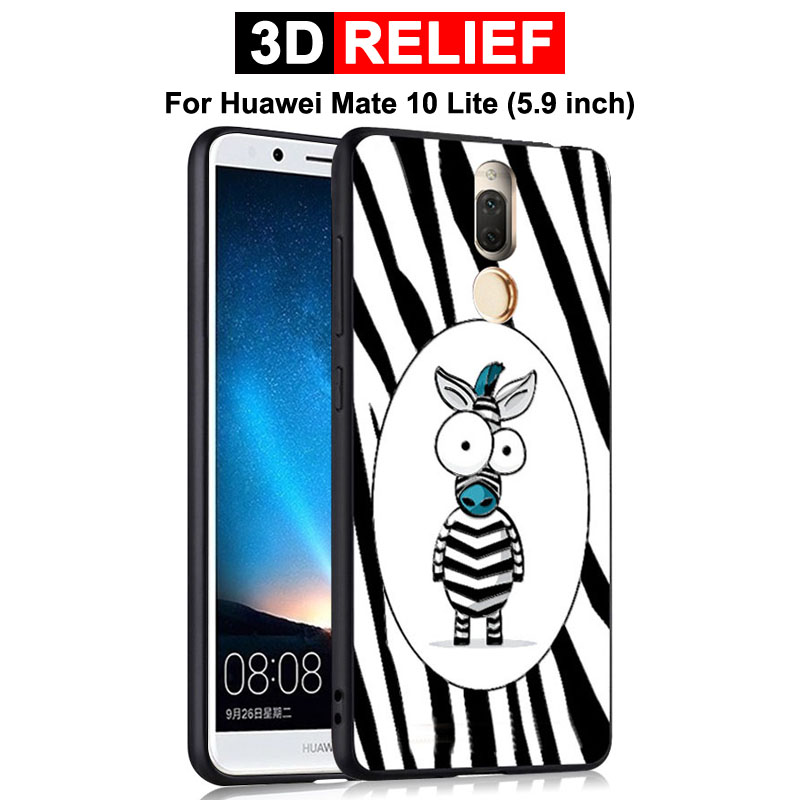 GodGift Huawei Mate 10 Lite Case Luxury 3D Relief Cartoon Protective Cover For Huawei Mate10 Lite Phone Shell Silicone Case