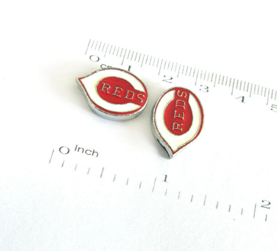 20 Pcs Cincinnati Reds Slide Charms 8mm Alloy With Enamel Sport Team Charms Fit Pet Collar DIY Necklace & Bracelet