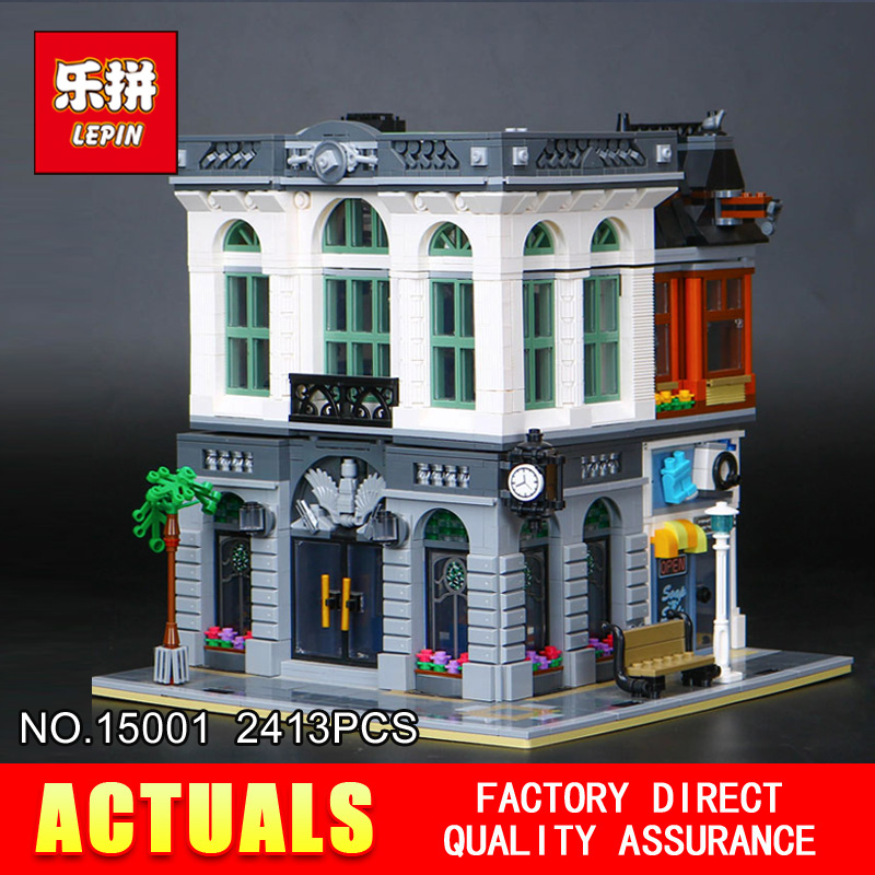 2016 New LEPIN 15001 2413Pcs Creator Brick Bank Model Building Kits  Blocks Bricks Toy Compatible Boy Brithday Gift 2016 new lepin 15006 2354pcs creator palace cinema model building blocks set bricks toys compatible 10232 brickgift