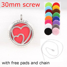 Screw Crystal Aromatherapy Diffuser Locket Stainless Steel Essential Oil Pendant(free chain & pads )