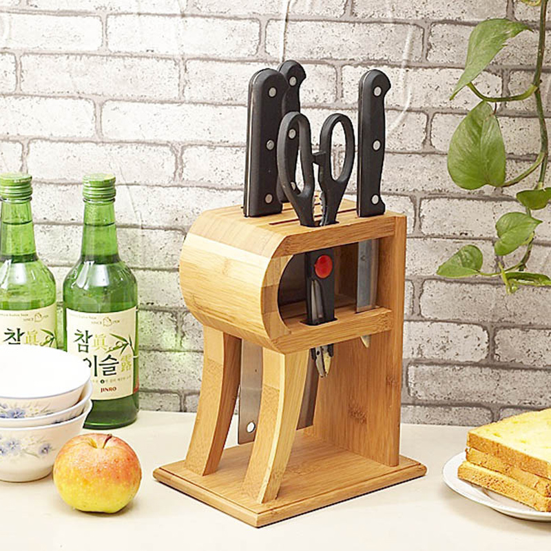 Creative R shape Bamboo Knife Block Scissor Sharpener Kitchen Knife Holder Multi purpose Storage Rack Wood