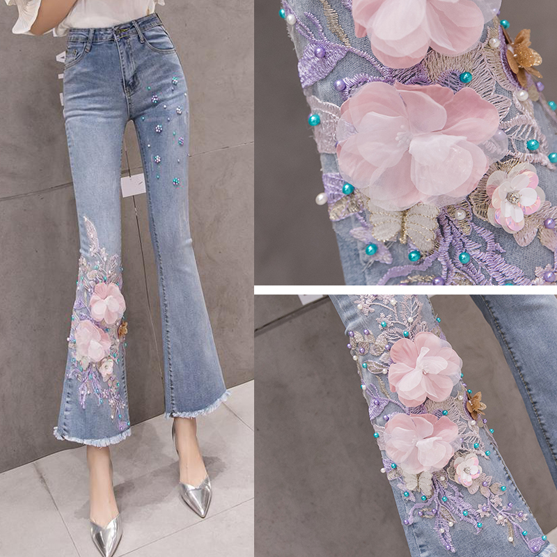 Summer Spring Fashion Women Sequined Flower Beading Tassel Flare Denim Trousers , Female Woman Floral Ankle Length Jeans Pants