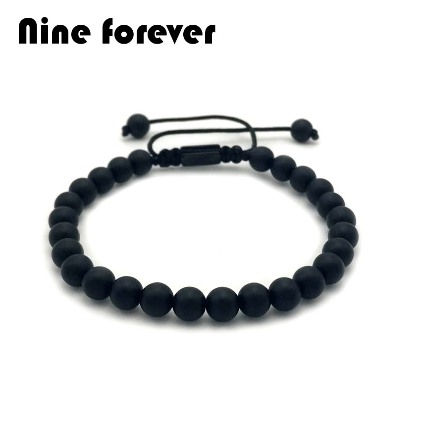 Nine forever Men Buddha Bracelet 6mm Natural black matte/gloss stone stainless steel pla ...