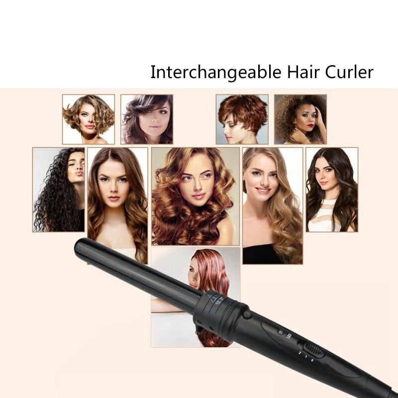 Contrôle de température 5 en 1 fer à friser électrique bigoudi avec gant de protection thermique outil de coiffure