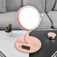 Make Up Desk Lamp Mirror With Light 360 Degree Swivel Led Lighting Magnifying Night Light Touch