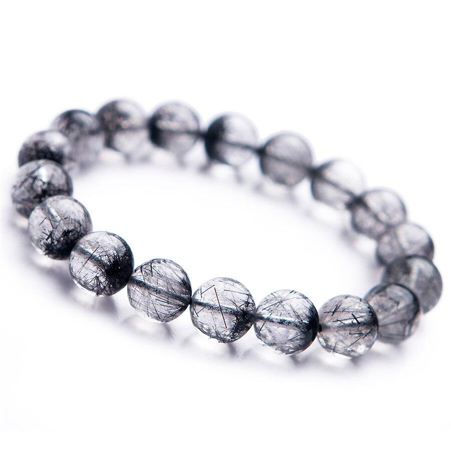 2018 Fashion Newly Natural Black Rutilated Quartz Round Crystal Bead Bracelet 12mm Trendy Men Women Crystal Round Beads Bracelet цены