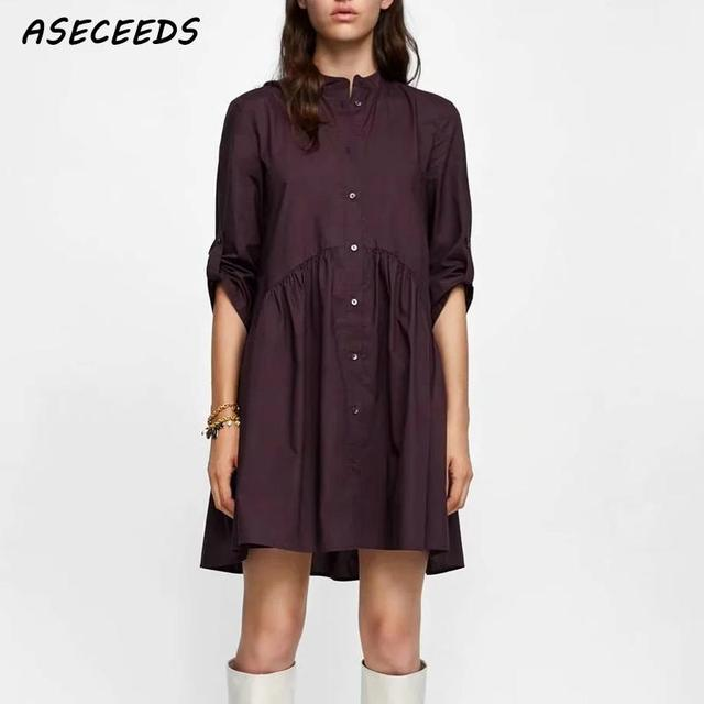 Comparar Vintage plisada mini camiseta vestido de las mujeres verano ...